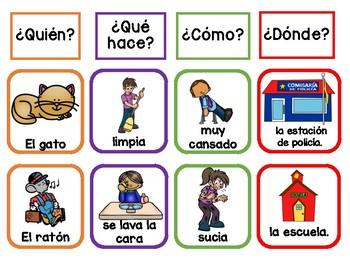 Spanish Silly Sentences/ Oraciones graciosas para tarjetero y folder interactivo