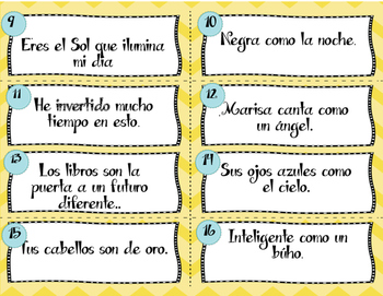 Spanish Similes & Metaphors Task Cards