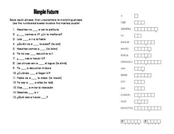 Spanish Simple Future Puzzle Pack