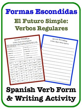 Spanish Simple Future Writing Activity (Regular Verbs)