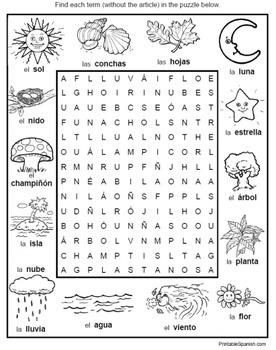 Spanish Simple Vocabulary Puzzles 2