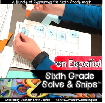 Spanish Sixth Grade Math Solve and Snips