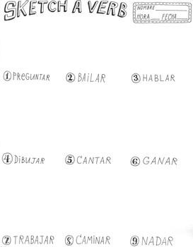 Spanish Sketch a Verb Common -AR verbs ~verb practice ~NO PREP ~Spanish verbs