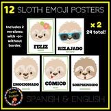 Spanish Sloth Emoji Posters | Emotions in Spanish - 2 Vers