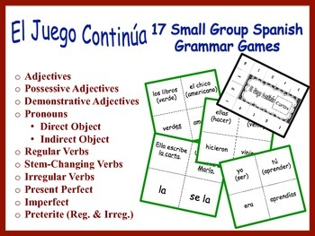 Spanish Small Group Grammar Games, Inventive Twist on Memo