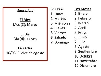 Spanish Days, Months, Date Speaking Activity for Small Groups (Quick Prep)