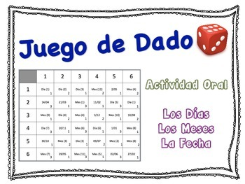 Spanish Days, Months, Date Speaking Activity for Small Gro