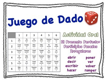 Spanish Present Perfect (Irregular Verbs) Speaking Activity for Small Groups