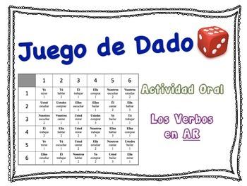 Spanish Regular AR Verbs Speaking Activity for Small Groups