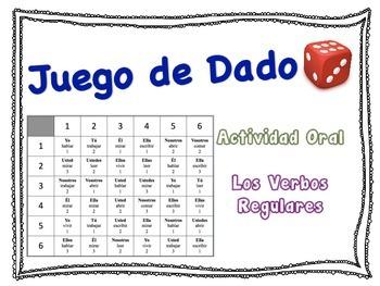Spanish Regular Verbs (AR, ER, IR) Speaking Activity for Small Groups
