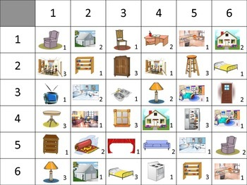 Spanish Rooms and Furniture Speaking Activity for Small Groups (Quick Prep)