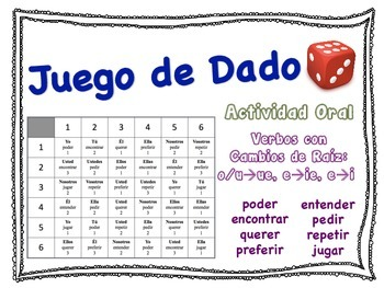Spanish Stem-Changing Verbs Speaking Activity for Small Groups