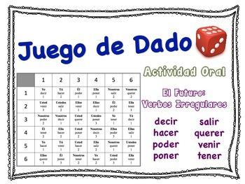 Spanish Simple Future (Irregular Verbs) Speaking Activity for Small Groups