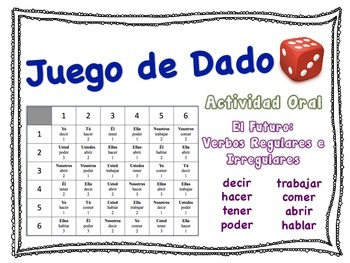 Spanish Simple Future (Regular & Irregular) Speaking Activ