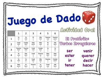 Spanish Preterite (Irregular Verbs) Speaking Activity for Small Groups