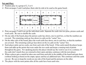 Spanish Small Group Vocabulary Games, Inventive Twist on Memory (15 Versions)