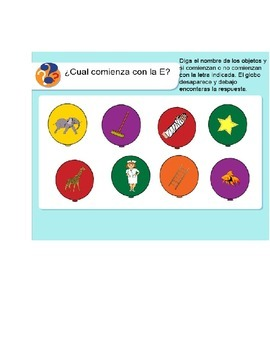 Spanish Smart Board Interactive Activities for letters A, E. I. O and U.