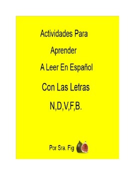 Spanish Smart Board Interactive Activities for letters N,D,V,F and B