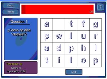 Spanish Clothing Smart Board Word Biz Spelling Game - La Ropa