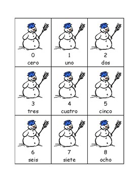 Spanish Snowman Numbers/Números Flashcards & Games 0-20