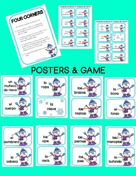 Spanish Snowman activity, label body parts, 4 color by number sheets for winter