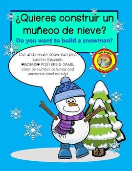 Spanish Snowman activity, label body parts, 4 color by num