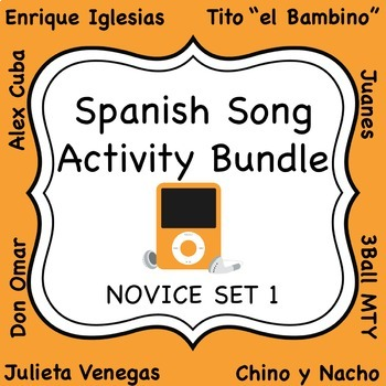 Spanish Song Activity Bundle - Novice