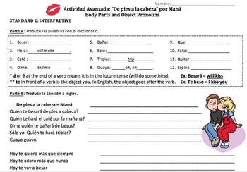 """Spanish Song Activity: """"De pies a la cabeza"""" (Object pronouns)"""