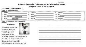 """Spanish Song Activity: """"Te busque"""" - Nelly Furtado & Juanes (Preterite)"""