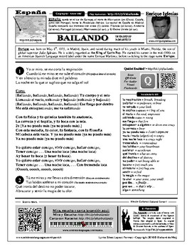 Spanish Song Bailando By Iteacher Tools Teachers Pay Teachers