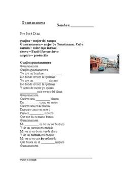 Celia Cruz: Guantanamera Spanish Song Cloze Activity (SUB PLAN) $1 DEAL!