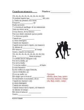 Spanish Song Cloze Activity: Enrique: Cuando me enamoro (Imperfect Subjunctive)