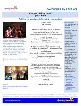 Spanish Song Cloze Camila Alejate De Mi Commands And Pronouns