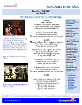 Spanish Song Cloze Camila - Mientes, PERSONAL PRONOUNS, with Answer Key