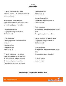 Spanish Song Cloze Enrique Iglesias - Loco for Pronominal Verbs, with Answer Key