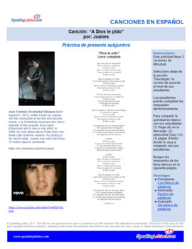 Spanish Song Cloze Juanes - A Dios Le Pido, Present Subjunctive, with Answer Key