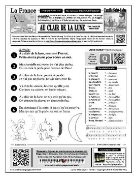 French Song: Au clair de la lune