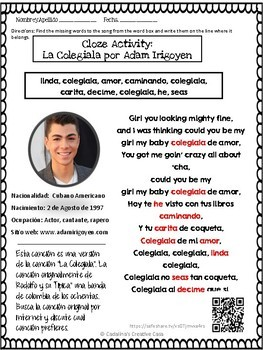 Spanish Song La Colegiala Adam Irigoyen Letra + Cloze Activity Present Perfect