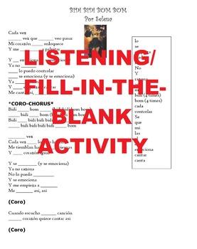 Spanish Song Listening Activity- Selena's Bidi Bidi Bom Bom