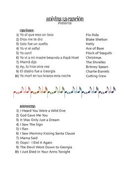 Spanish Preterite Song Titles