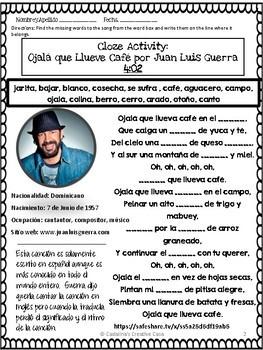 "Spanish Song "" Ojalá que llueva café "" Letra + Cloze Activity -Subjunctive"