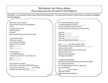 "Spanish Songs:  ""Niña Bonita""with Gender & Subject Pronouns"