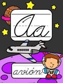 Spanish Space Themed Cursive Alphabet Posters (Abecedario Cursivo El Espacio)