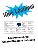 Spanish Direct and Indirect Object Pronouns Speaking Activity (Lastima)