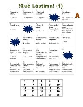 Spanish Direct and Indirect Object Pronouns Speaking Activity (Lastima)