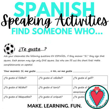 Spanish Speaking Activity - Expressing Likes with Sports Vocabulary
