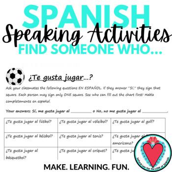 Spanish Speaking Activity - Expressing Likes with Spanish Sports Vocabulary