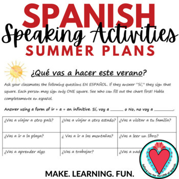 Spanish Speaking Activity - Find Someone Who - Summer Plans with Future Tense