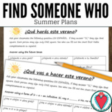 Spanish Speaking Activity - Find Someone Who - Summer Plan