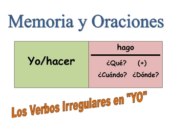 "Spanish Irregular ""YO"" Forms Speaking Activity  (Memory with Sentences)"